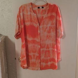 Fred David orange tie dye blouse